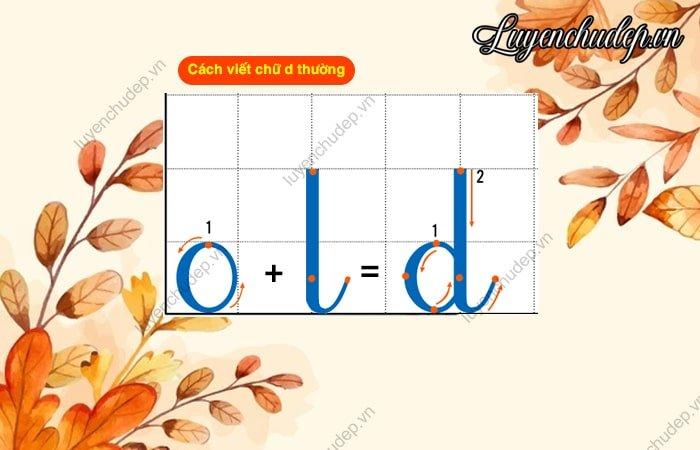 Cách viết chữ d thường 1 ô li