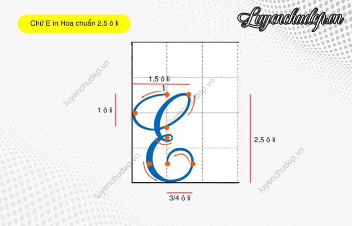 Cách viết chữ E in hoa chuẩn 2,5 ô li