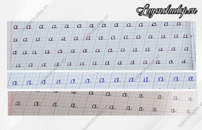 Chữ a thường bị lỗi kĩ thuật trong quá trình viết