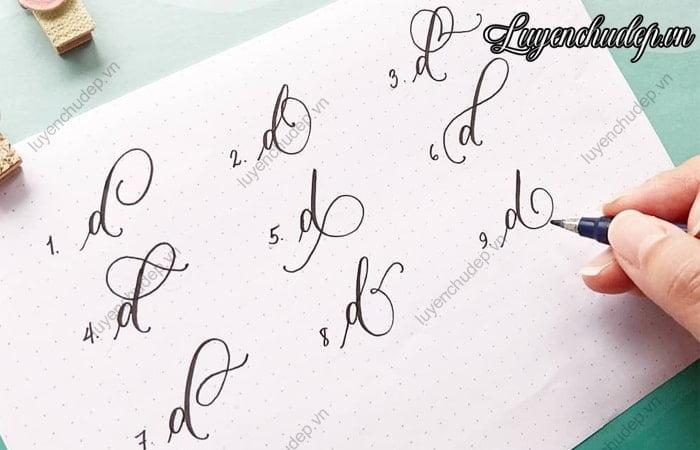 Cách viết chữ d thường cách điệu sáng tạo