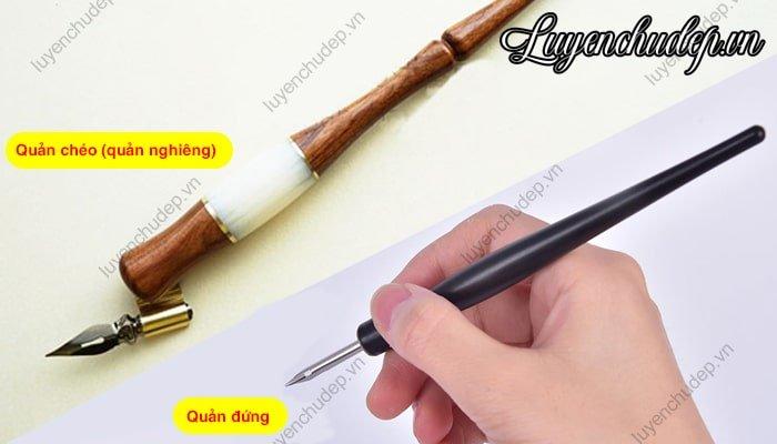 Sự khác nhau giữa bút quản đứng và bút quản nghiêng