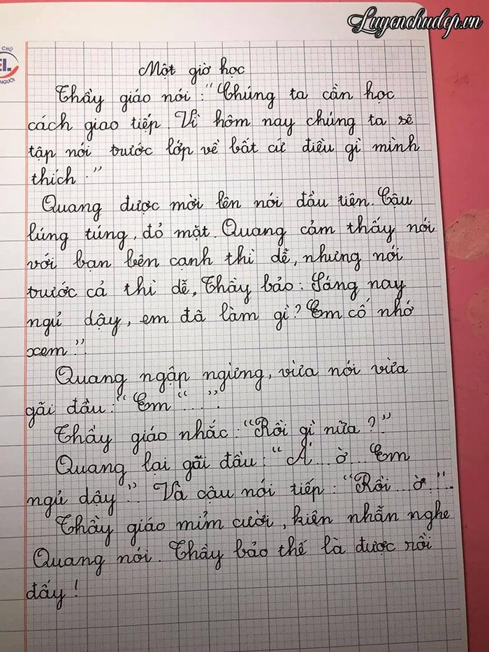 Bài viết của bé lớp 2