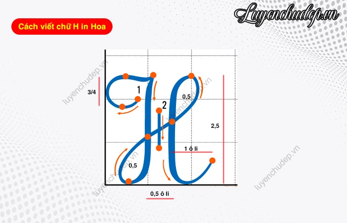 Cách viết chữ H hoa cỡ chữ 2,5 ô li