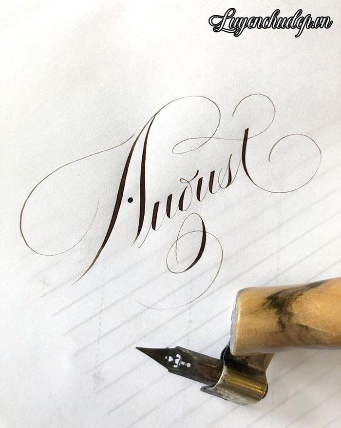 Cách viết chữ a thường, A hoa Calligraphy Copperplate