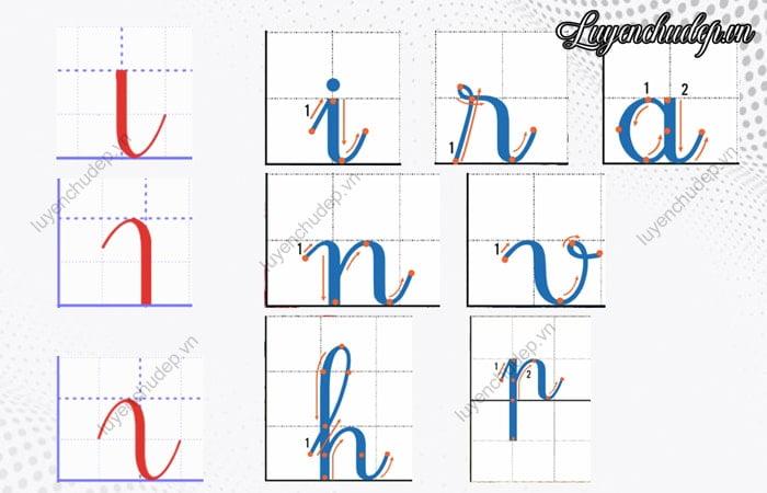 Nét móc trên, nét móc dưới, nét móc 2 đầu tạo rất nhiều chữ