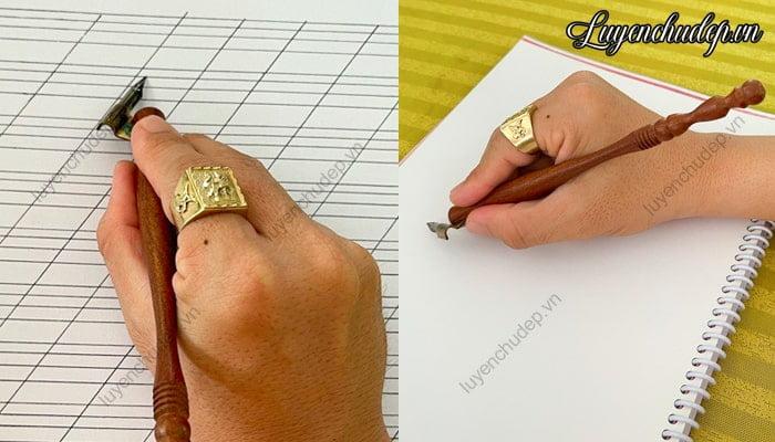 Cầm bút quản chéo viết calligraphy