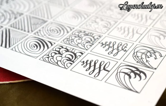 Bài thực hành nét thanh nét đậm viết Calligraphy